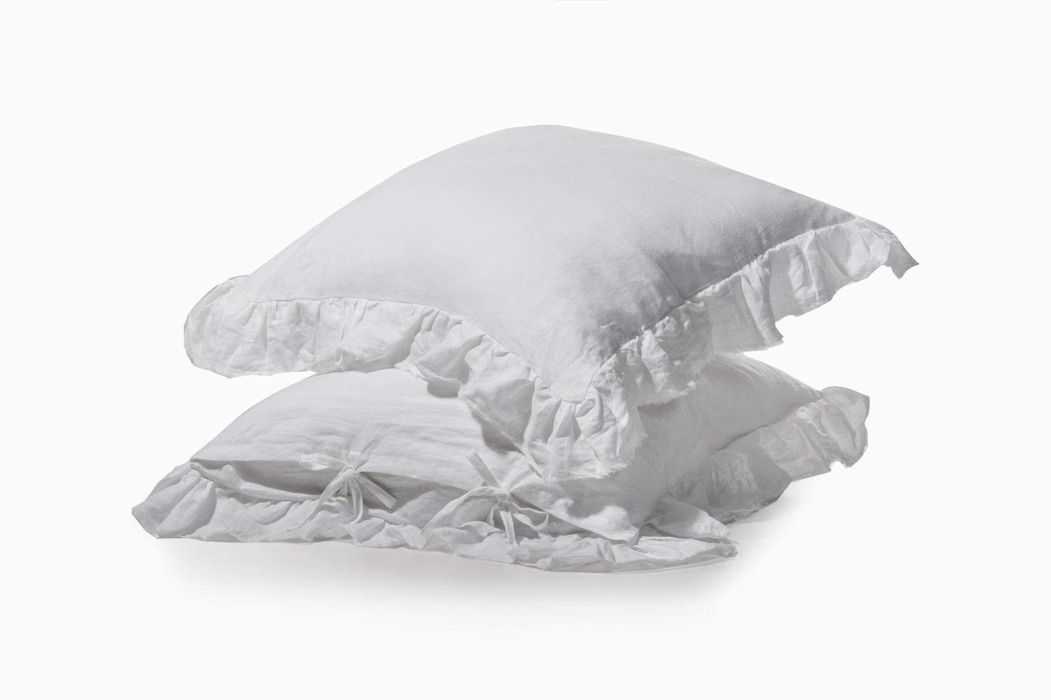 meadow park Stone Washed French Linen European Pillow Sham, Set of 2 Pieces, 26'' x 26'' Square Euro Sham, Super Soft, Frayed Edge,Ties Closure, White Color