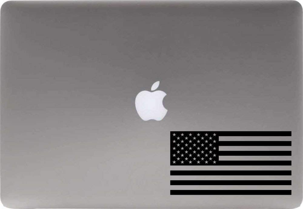 American Flag Vinyl Decal Sticker for Computer MacBook Laptop Ipad Electronics Home Window Custom Walls Cars Trucks Motorcycle Automobile and More (Black)