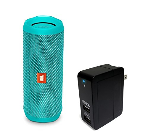 Click to buy JBL Flip 4 Waterproof Portable Bluetooth Speaker, Teal, with Plugable 2-Port 20W USB Universal Smart Wall Charger - From only $1359