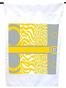 Rikki Knight V Initial Freesia Yellow Leopard Zebra House or Garden Flag, 12 x 18-Inch Flag Size with 11 x 11-Inch Image