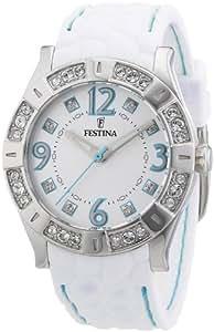Festina F16541/2 - Reloj analógico de cuarzo para mujer con correa de caucho, color blanco
