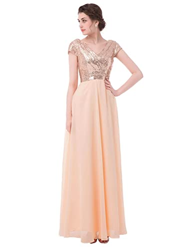 Dressyu Cap Sleeve Sequin Long Prom Party Dress Bridesmaid Gowns