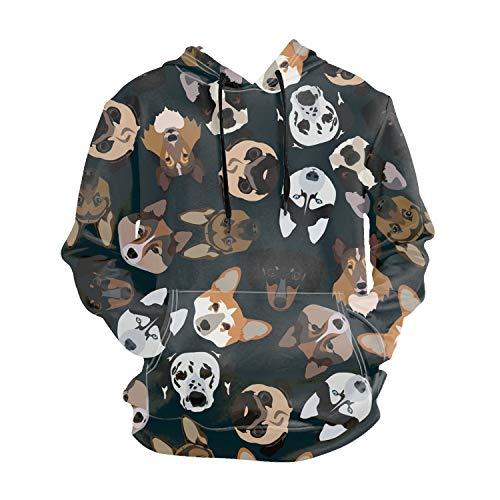 Ranhkdn Causal Pedigree Dogs Printing Pullover Hoodie Lovers Sports Sweatshirt ()