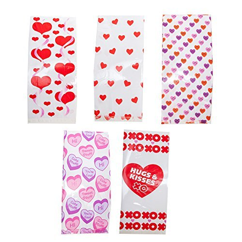 Valentine Cellophane Party Bag Assortment - 60 PC -