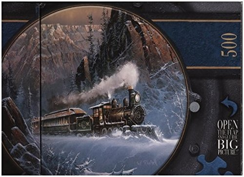 The Art of Ted Blaylock 500 Piece Round Climbing Eagle Pass Train Art Puzzle