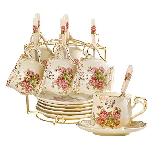 YOLIFE Red Rose Pattern Ivory Ceramic Cups and Saucers Set,Fancy Coffee Cups Set of 6 with Golden Metal Rack -