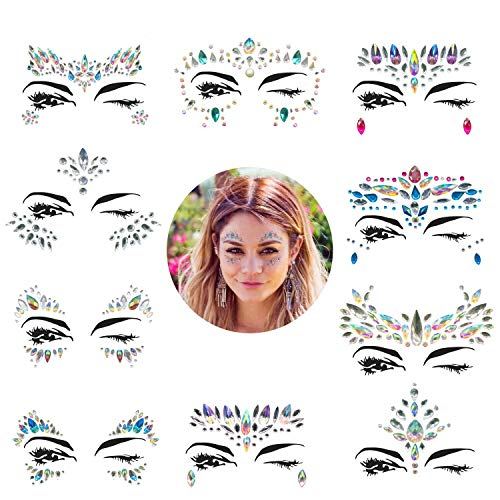 Face Gems, 10 Sets Mermaid Face Jewels Festival Face Gems Rhinestones Rave Eyes Body Bindi Temporary Stickers Crystal Face Stickers Decorations Fit for Festival Party(10 Sets - Tone Rhinestone Jewel