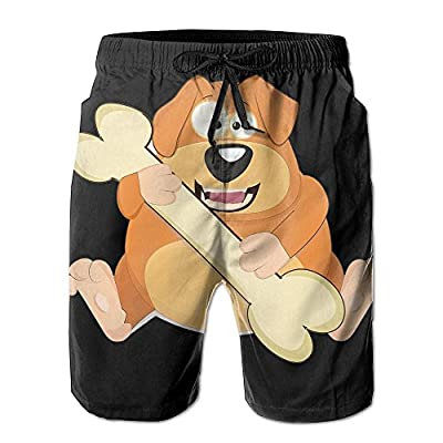 Cheap Puppy Eat Bone Men's Beach Pants Workout Gym Short Shorts Pockets Sweatpants Waist Tension Design free shipping