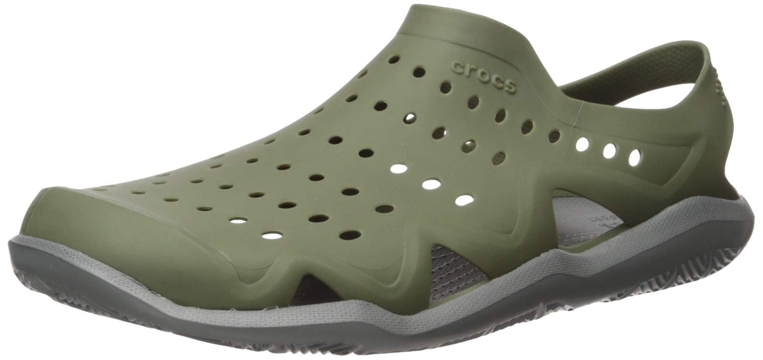 Crocs Men's Swiftwater Wave Sandal Water Shoe, Army Green/Slate Grey, 13 M US by Crocs