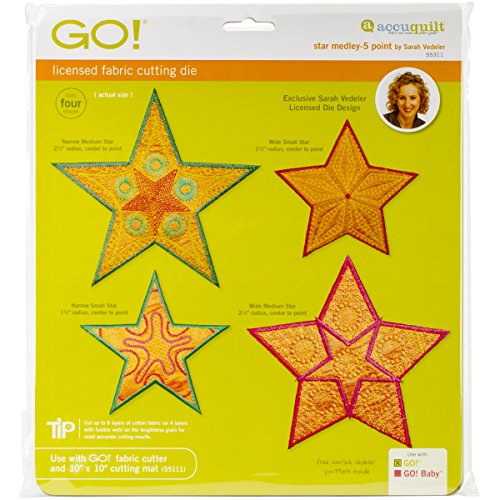 AccuQuilt GO! Fabric Cutting Dies, Star Medley 5 Point by Sarah Vedeler (Star Medley)