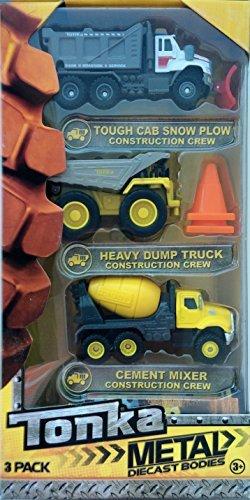 Tonka Metal Diecast Bodies Construction Crew 3 Pack - Snow Plow, Heavy Dump Truck, Cement Mixer