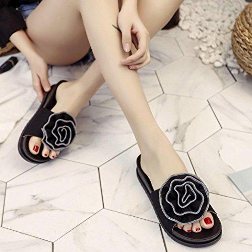 Hatop Pantoufle Pour Les Femmes, Mesdames Été Plage Fleur Plate-forme Pantoufles Casual Sandales Compensées Noir