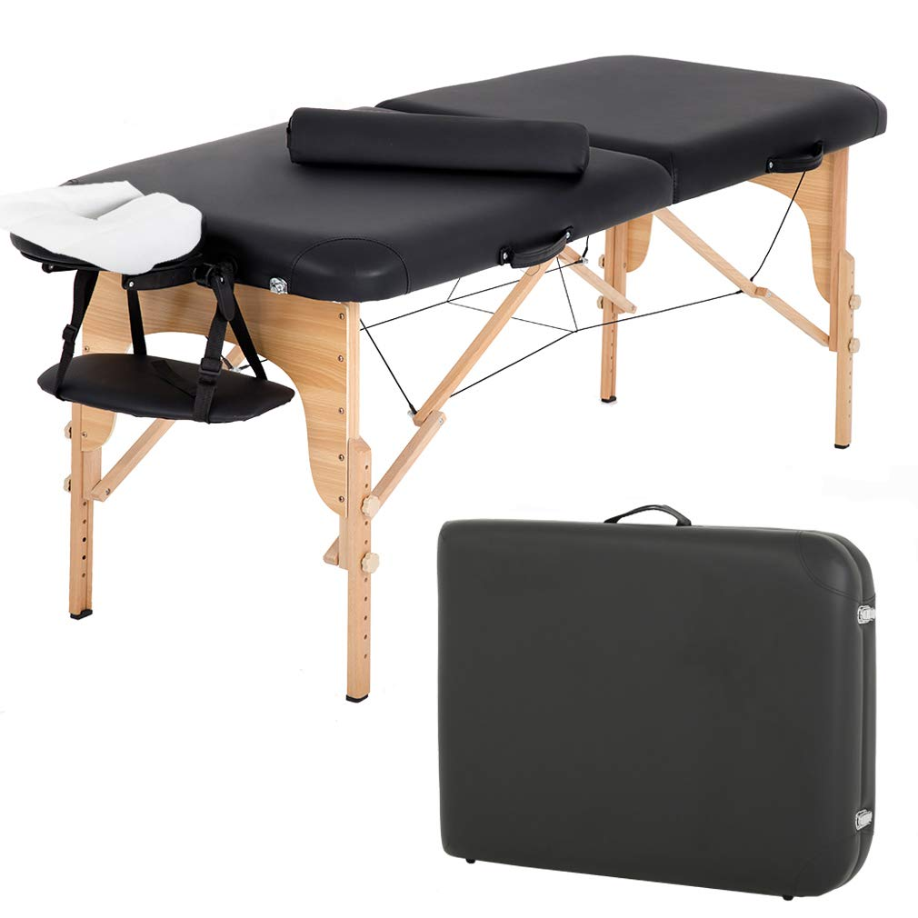 Massage Table Massage Bed Spa Bed 84 Inch Height Adjustable 2 Fold Massage Table W/Bolsters Carry Case Portable Salon Bed