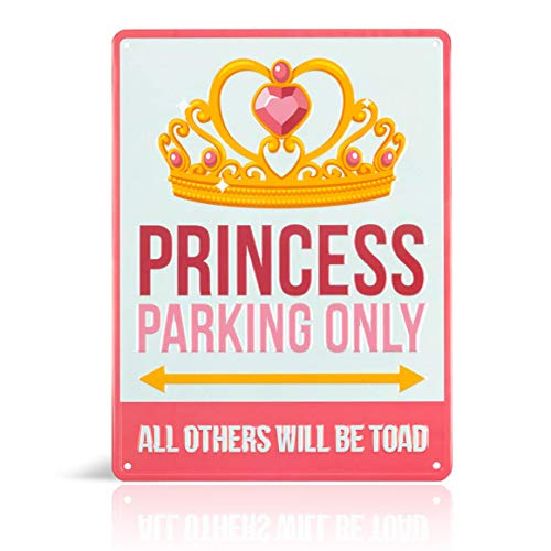 (Princess room decor - Decorative Aluminum Pink Princess Parking Only Street Sign. Cute Bedroom art for little girls room. Put the poster away & fill her room with Fun tin wall art princess toad signs!)