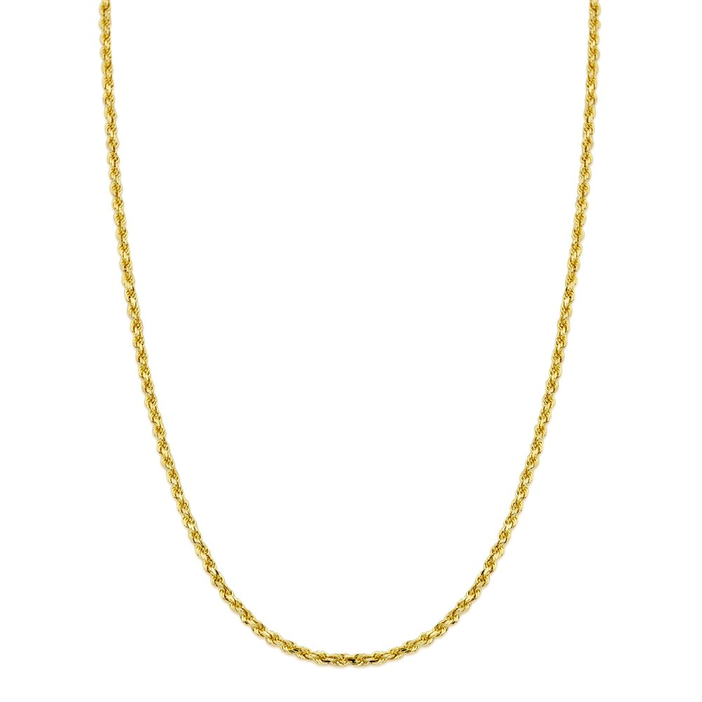 LoveBling 10K Yellow Gold 3mm 22'' Solid Diamond Cut Rope Chain Necklace with Lobster Lock by LOVEBLING (Image #2)