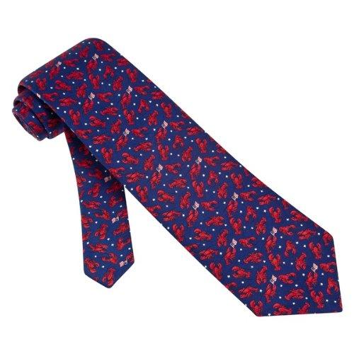 Crustacean Blue Silk Tie Necktie Men's Animal Print Lobsters Neck Tie