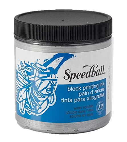 Speedball 3814 Water-Soluble Block Printing Ink – Bold Color With Satin Finish AP Certified Non-Toxic - 8 FL OZ, Silver by Speedball Art Products Company