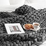 Hongxin Fashion Thick Yarn Merino Wool Bulky Knitting Blanket Soft Autumn And Winter Warm Hand Chunky Knitted Sofa Blanket 100x120cm/100x100cm/100x80cm (100x120cm, Dark Gray)