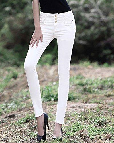 Pantaloni Eleganti Bianca Alta Ginocchio A Skinny Vita Strappati Legging Jeans Donna wzTq7xI