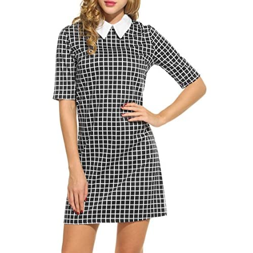 02a50fb3e65c HOTOUCH Women's Casual Doll Collar Short Sleeve Plaid Shift Dress 80%OFF