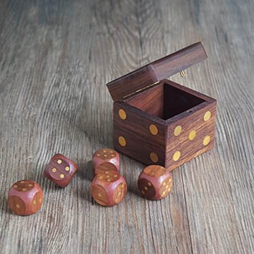 RoyaltyRoute Professional Dice Cup 5 Dice Handmade Indian Dice Game Set Box