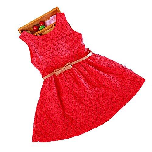 Usstore 1PC Girls Kids Lace Vest Girl Dress Princess Dress( Belt is not included) (110-3-4 Year, (Fancy Dress Red Wig)