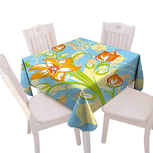 Cheery-Home Square Table Cloth Foot Table in Washable Polyester Suitable All Occasions,(W70 x L70) Floral Tiger Lily in Retro Vibrant Colors Essence Buds Florets Picture Light Yellow Orange Sky Blue. (Drapes Lily Tiger)