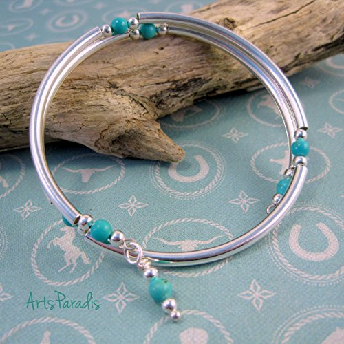 Southwestern Turquoise Natural Stone and Sterling Silver-Plated Wrap Bracelet by ArtsParadis (Turquoise Stack)