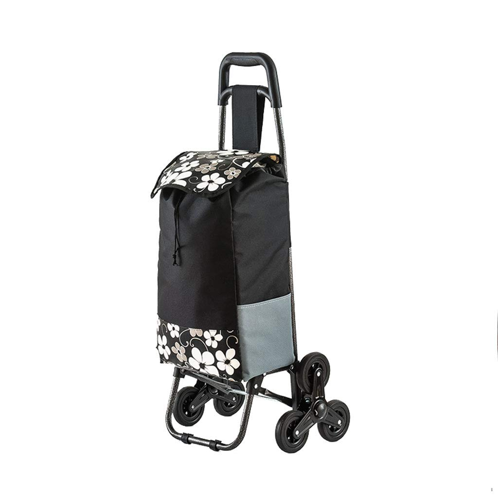 Shopping Cart Shopping Trolley Shopping Bag Luggage Cart Foldable Portable Trolley Pull Rod Tricycle Climbing Stairs Trolley Black