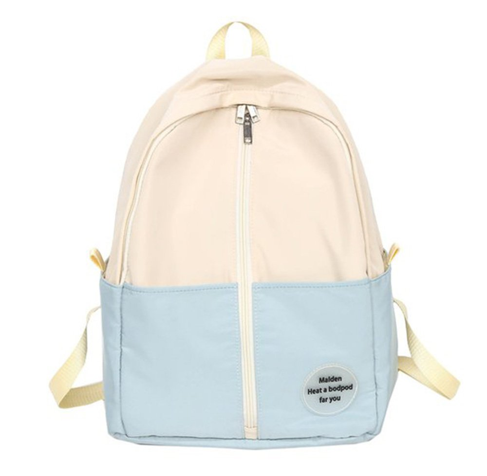 Light blueee Casual Fashion backpack Female Street Trend Personality Hong Kong Style Bag Female Student Korean Version of The Trend Campus