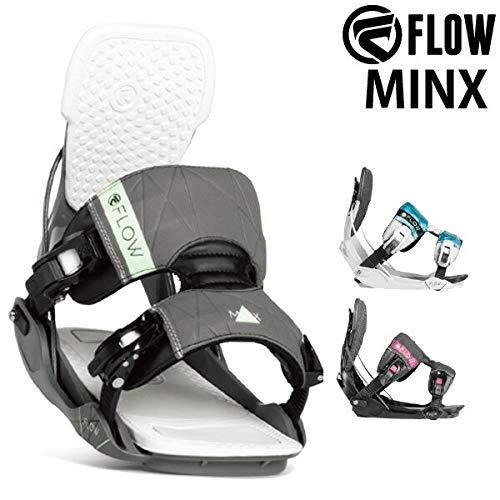 18-19 FLOW/フロー MINX FS ミンクス レディース ビンディング バインディング スノーボード 2019 L(25.5~29.5cm) 黒 グレー/AQUA M(22.5~26.5cm)