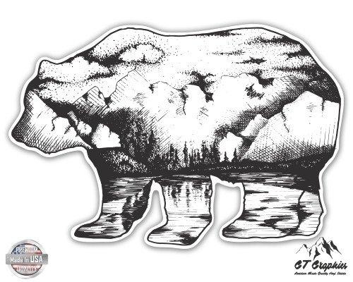 Bear Mountains - 3 Vinyl Sticker - For Car Laptop I-Pad Phone Helmet Hard Hat - Waterproof Decal