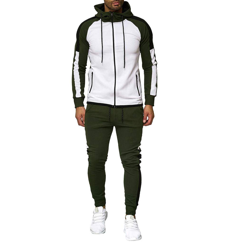 Zainafacai Men's 2 Piece Tracksuits,Zipper Patchwork Slim Fit Hoodie Pants Sets Sports Suit Jogging Sweatsuit Activewear Army Green by Zainafacai