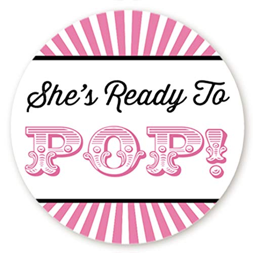 Circus Themed Ready to Pop Stickers   48 Stickers   Ready To Pop Baby Shower Stickers for Popcorn   1.67 Inches   Ready to Pop Stickers for Boy or Girl (Pink) ()