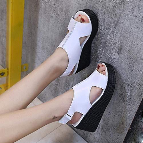talons la d'été chaussures lacées pour bout sur compensées blanche boucle ouvert talon plage chaussures sandales moyens à Zhrui femme pour tongs femmes ouvert UqxP5Uzwg