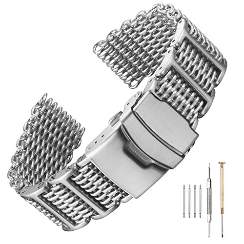20/22/24mm H-Link Shark Stainless Steel Mesh Strap Wrist Watch Band Heavy Duty Diving Watch Strap Men ()