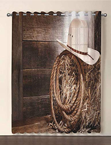 One Panel Extra Wide Sheer Voile Patio Door Curtain,Western,American West Rodeo Hat with Traditional Ranching Robe on Wooden Ground Folk Art Photo Decorative,Brown Beige,for Sliding Doors(108