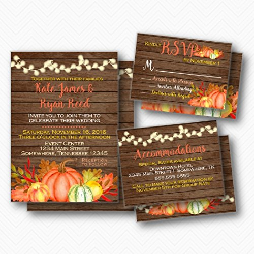Fall wedding invitations Set with Invitations, RSVP & Enclosure Card | Envelopes Included
