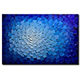 Desihum-Oil Paintings Modern Framed Art 3D Hand Painted Artwork Abstract Blue Flowers Pictures on Canvas Wall Art Ready to Hang for Living Room Bedroom Home Decor (24''x36'')