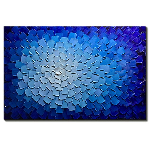 Desihum-Oil Paintings Modern Framed Art 3D Hand Painted Artwork Abstract Blue Flowers Pictures on Canvas Wall Art Ready to Hang for Living Room Bedroom Home Decor (24