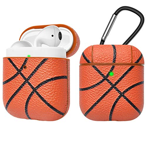 - Tekcoo AirPods Case, [Front LED Visible] AirPods Accessories Cover Compatible with Apple Airpods 1 & AirPods 2 Protective PC Plastic Inner + PU Vegan Leather Pattern Skin & Keychain [Basketball]