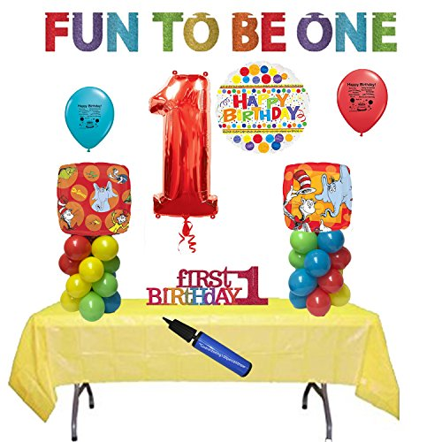 Dr Seuss 1st Birthday Party Balloon and Table Decoration (Dr Seuss Party Supplies 1st Birthday)
