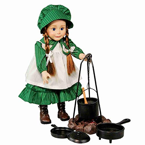 Little House on The Prairie Cooking Set, Fire Pit, Cauldron, Tripod, Skillet, Spider Fryer, Wooden Spoon, Accessories Fits 18 Girl Dolls