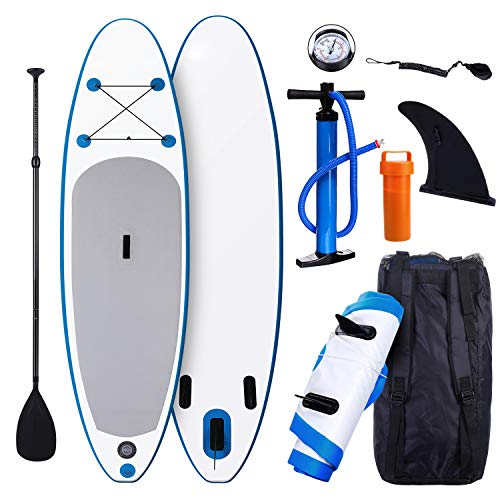 - Smibie Inflatable Stand Up Paddle Board (120 x 30 x 6 inch) with 1000D Brushed PVC Material, Adjustable Paddle and Travel Backpack, for Kids, Teens and Adults