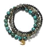 Satya Jewelry Turquoise, Labradorite, Hematite Gold Plate Om Stretch Bracelet