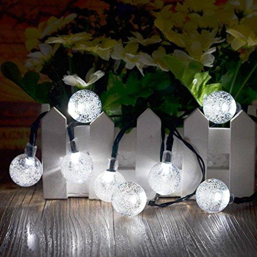 Kingko/® Solar Lichterkette Au/ßen mit 20 LED Kugel Warmwei/ß 8 Modi Dekoration Beleuchtung f/ür Party Outdoor gelb Fest Deko usw Weihnachten