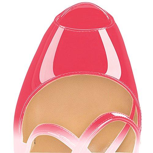 rosa Donna elashe Scarpe Toe Scarpe Cross Classiche Scarpe pesca Plateau con Peep da 15CM col Criss Strap Tacco wqRaCq