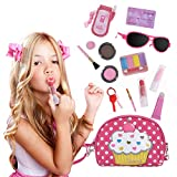 Beverly Hills Doll Collection All-in-One Pretend Play Purse and Makeup Beauty Set with Polka Dotted Shoulder Bag and 13 Accessories