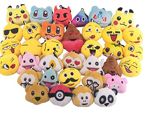 Swity Home 36 Pack Mini Emoji Plush Toy, Emoticon Toy, Mini Keychain Decorations, for Party Decoration, Party Supplies Favors, Set of 36 ()