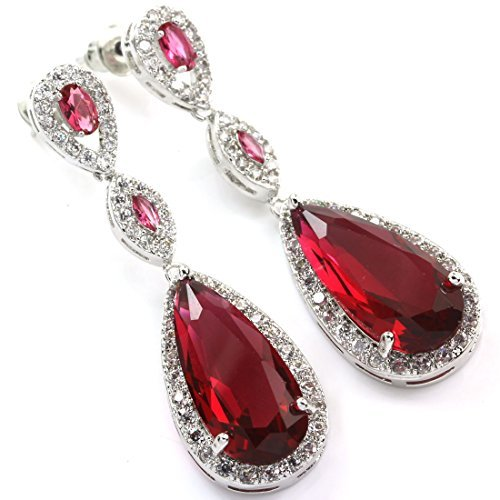 FC Plum Red Color Dangle Teardrop Crystal White Gold Plated CZ Bridal Wedding Earring by FC